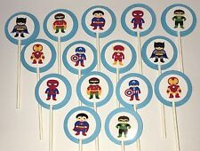 30 SUPERHERO KIDS Cupcake Toppers Birthday Party Favors, Baby Shower Decoration