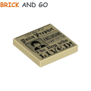 1 x LEGO 39616 Plaque Harry Potter (tan) Tile 2x2 The Daily Prophet NEUF NEW