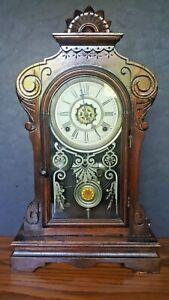 """Antique 1881 Waterbury Melrose 8-Day Strike Alarm Mantle Clock 21"""" Tall"""