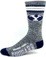 BYU Cougars NCAA Got Marbled 4 Stripe White and Navy Crew
