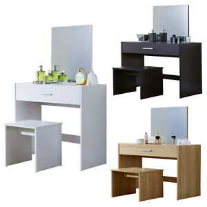 Julia Vanity Dressing Table With Stool & Mirror White Oak Dark 1 Drawer Dresser