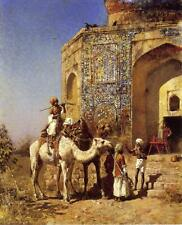 Oil Painting repro Old Blue-Tiled Mosque, Outside of Delhi India