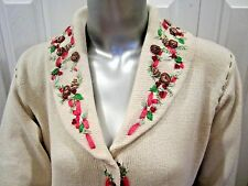 STORYBOOK KNITS Winter White ELEGANT WREATH Sweater Coat M-L