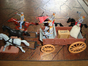 !!! UNIQUE - TIMPO - CONFEDERATED SUPPLY COACH WITH 5 SOLDIERS - SCALE 1:32 !!!