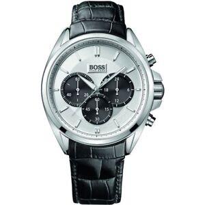 Hugo Boss Men's 46mm Chronograph Black Calfskin Mineral Glass Watch 1512880