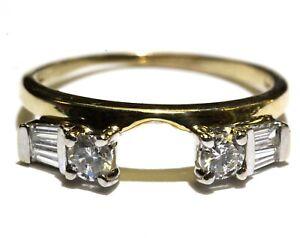 14k yellow gold .24ct diamond wrap guard jacket ring 2.4g size 7.25 wedding band