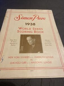 RARE 1938 WORLD SERIES PROGRAM~NY YANKEES VS CHICAGO CUBS~SIMON PURE BEER~GEHRIG