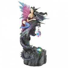 Magical Mystical Fairy & Dragon Figurine w/Crystal & Base Light Collector Gift