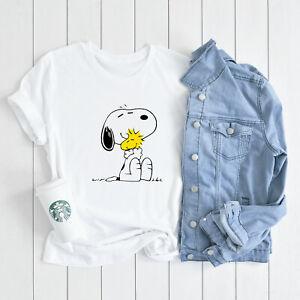 Snoopy Peanuts Woodstock Hug Love Charlie Brown T-shirt Womens Fashionable Tee