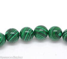 "1 Strand Malachite Semi-Precious Gemstone Beads 8mm( 3/8"") Dia."