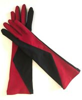 Vintage Aris Isotoner Dramatic Red & Black Long Stretch Gloves, One Size