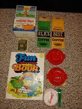 Vintage Food Ads,Tetley Tea Sewing Kit,Slim Jim Ashtrays,Elks,Custy Brand Coffee