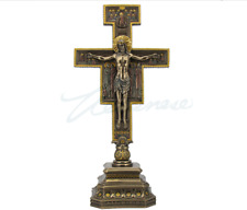 "San Damiano Crucifix Cross On Stand Sculpture Statue 10"" HOLIDAY GIFT"