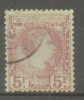 "MONACO STAMP TIMBRE N° 10 "" PRINCE CHARLES III 5F CARMIN 1885"" OBLITERE TB SIGNE"