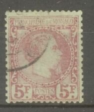 "MONACO STAMP TIMBRE N° 10 "" PRINCE CHARLES III 5F CARMIN 1885"" OBLITERE TB SIGNE"