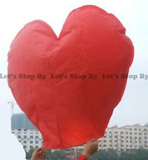 10x RED HEART Kongming Sky Flying Wishing Lantern Chinese Paper Candle Wedding