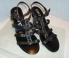 New DKNYC Womens Elly Chain Black Wedge Sandals 9.5 Medium DKNY