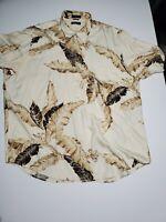 Nautica 100% Silk Short Sleeve Floral Print Hawaiian Shirt Mens XXL White