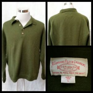 Filson Wool Sweater Men's Large Green Polo Pullover Inv#W1489