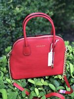 NWT MICHAEL KORS STUDIO Mercer Large Leather Bright Red Dome Satchel