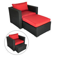 2 Piece Outdoor Furniture Patio Wicker Rattan Sofa Set Removable Ottoman Chair
