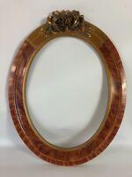 Ancien Cadre ovale bois patiné & stuc doré 1930, 52x40cm, feuillure: 40x30cm SE4