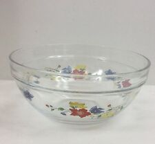 "Heat Resistant 6 5/8"" Glass Mixing Bowl w/ Blue, Yellow, and Red Flowers Fast"