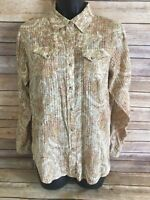 ARIAT Pearl Snap Shirt Size Medium Womens Long Sleeve Paisley Western Rodeo FIT