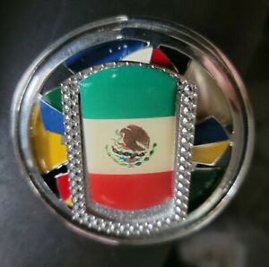 Spinner Belt Buckle Mexico Mexican Mexicano Mexicana and American Flags Western