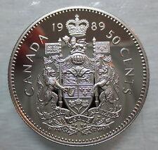 1989 CANADA 50 CENTS PROOF HALF DOLLAR HEAVY CAMEO COIN