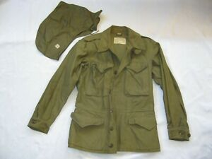 WWII WW2 U.S. Army M-1943 Field Jacket M43 Size 34L w/ New Hood - Nice Condition