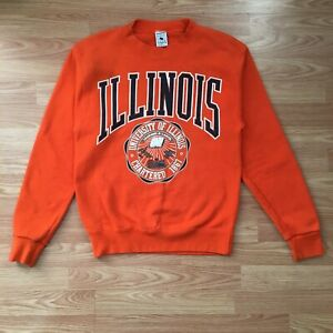 VINTAGE UNIVERSITY OF ILLINOIS PULLOVER SWEATSHIRT MADE IN USA SIZE SMALL