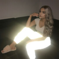 Women Jogger Flash Reflective Long Tights Pants Casual Solid Trousers S-2XL