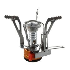 Hornillo Cocina Estufa Metal Gas Camping Portatil Naranja Plata S9K4