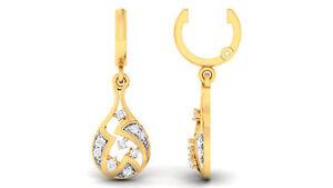 0,25 Cts Runde Brilliant Cut Diamanten Baumeln Ohrringe In 585 Solides 14K Gold