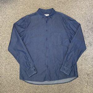 Mens YMC You Must Create London Blue Long Sleeve Shirt Large