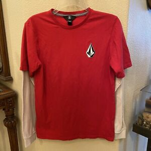 VOLCOM Boys Red & White Long Sleeve Top Size XL-14Y