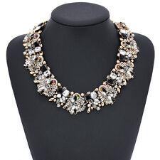 Crystal Flower Women Choker Bib Chunky Statement Chain Necklace Fashion Jewelry