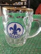 Quebec blue Fleur-de-lis gold rimmed beer coffe drink mug cup glass France