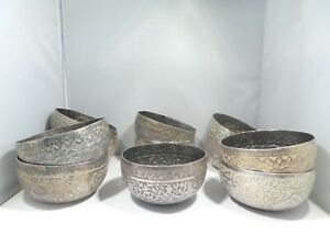 SET OF 11 ANTIQUE INDIAN SILVER ALLOY BOWLS HEAVILY CHASED & DECORATED 62.3 TOZ