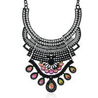 Fashion Women Crystal Chain Necklace Big Bib Statement Choker Collar Chunky NEW