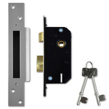 Willenhall Locks M3 5 Lever Mortice Door Sashlock 50mm Satin Chrome Keyed Differ