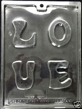 "Valentine's Chunky Letters ""LOVE""  Chocolate Plastic Candy Soap Mold LOP V-64"