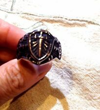Large Silver Stainless Steel Silver Sword Crest Size 11.5 Men's Ring