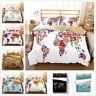 3D Colorful World Map Duvet Cover Bedding Set Pillowcase Quilt/Comforter Cover