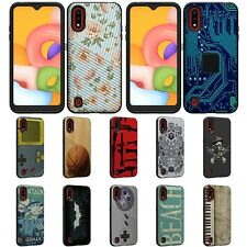 For Samsung Galaxy A01 (2020) A015 Slim Fitted Grooved Hard Shell Hybrid Case