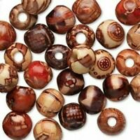 100Pcs Assorted Wooden Round Loose Beads Spacer Charm Jewelry Making DIY Crafts