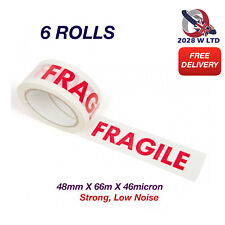 Printed Fragile Parcel Packing Tape 48mm*66m*46mic, Strong, Low Noise (6 Rolls)