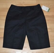 NEW  CUTTER & BUCK WOMEN'S GOLF SHORTS  SIZE 8 BLACK FLAT FRONT BERMUDA