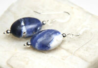 Sodalite Blue 13mm x 18mm Oval Gemstone .925 Sterling Silver Earrings 1 1/2""